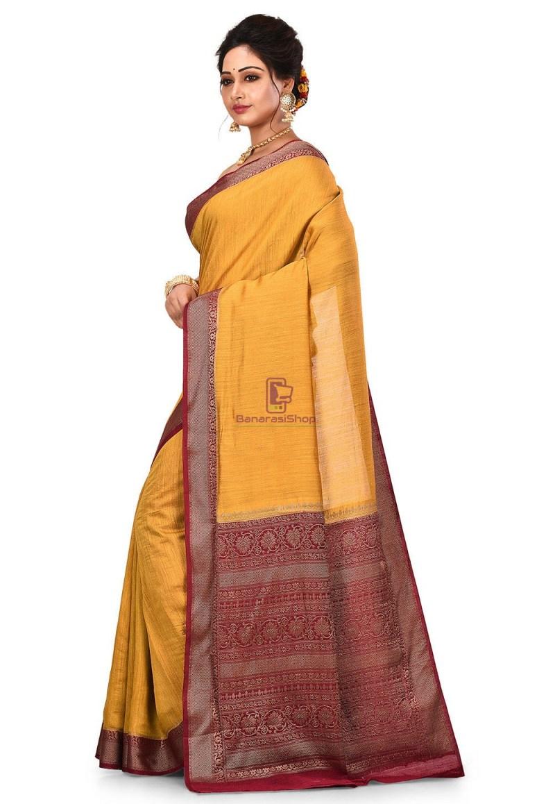 Pure Muga Silk Banarasi Saree in Mustard 4