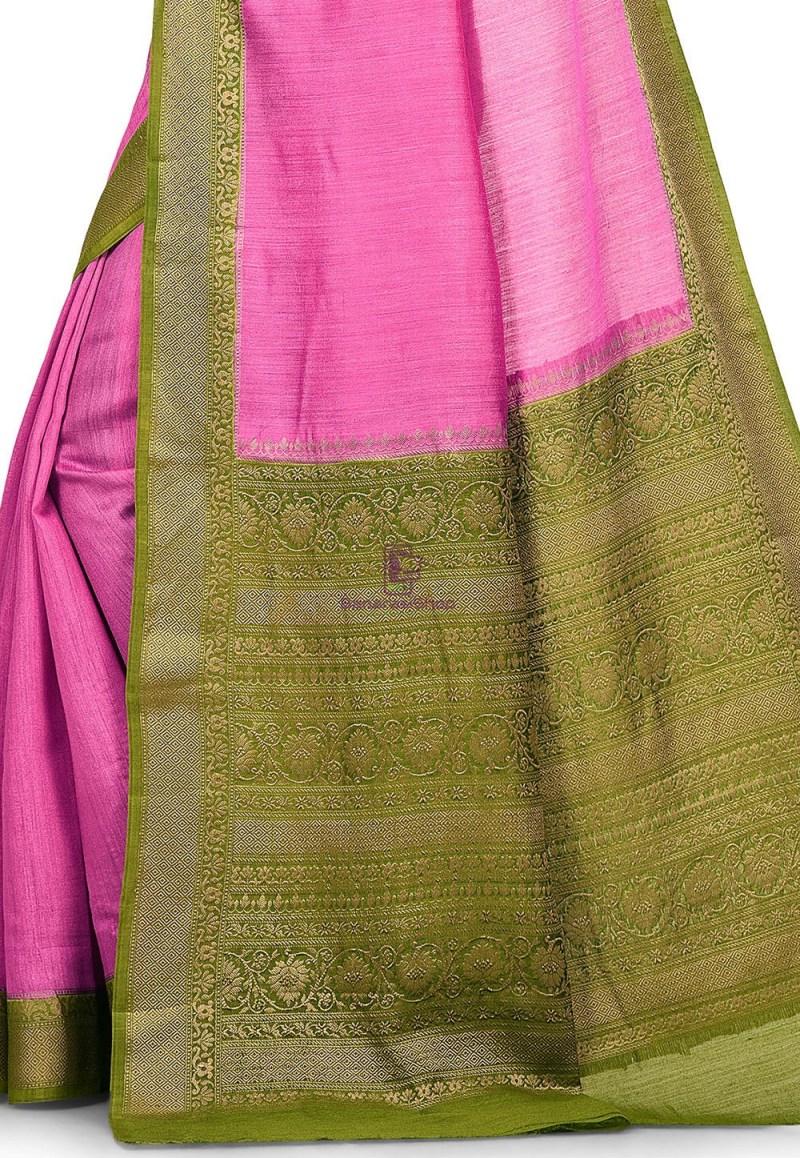 Pure Muga Silk Banarasi Saree in Pink 2