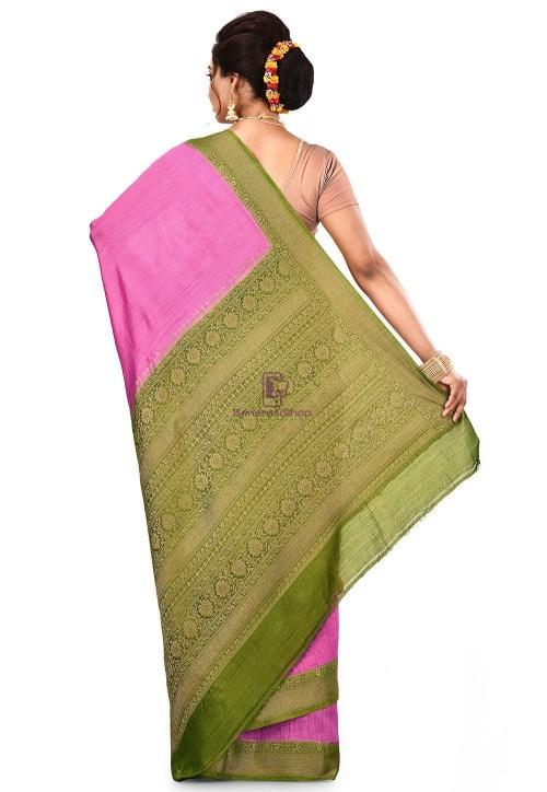 Pure Muga Silk Banarasi Saree in Pink 9