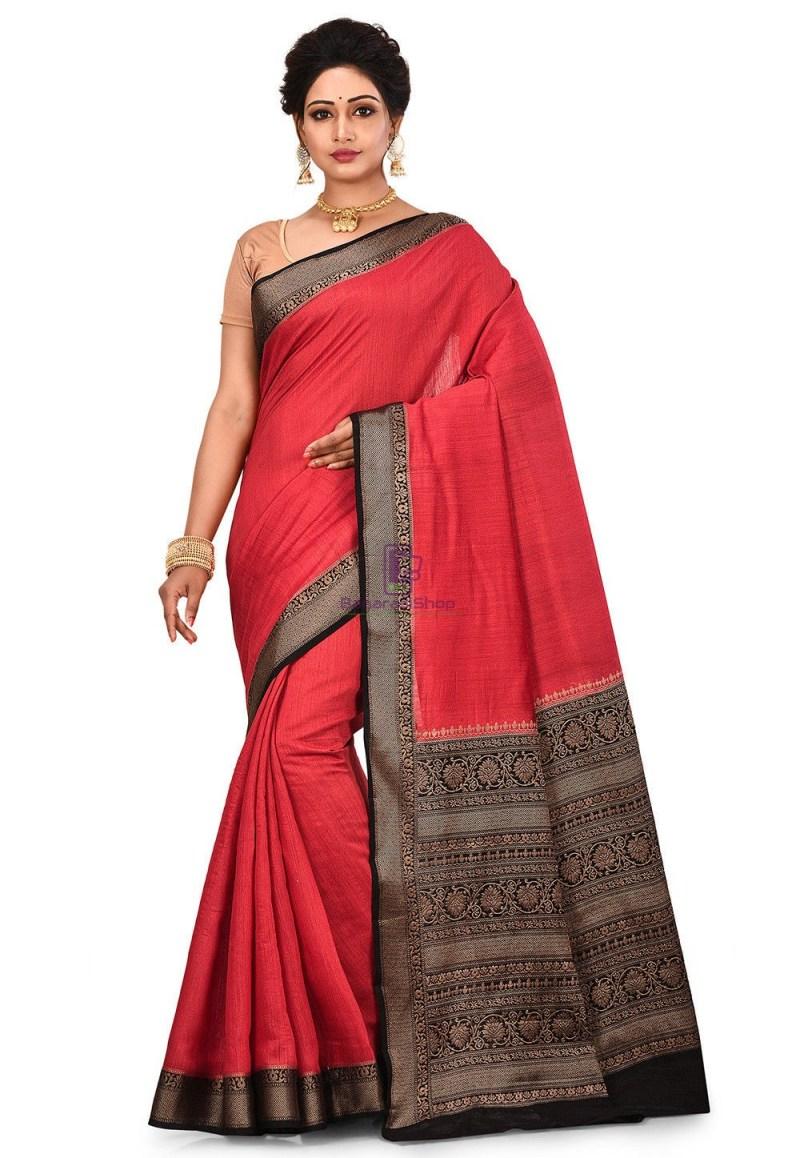 Pure Muga Silk Banarasi Saree in Red 1