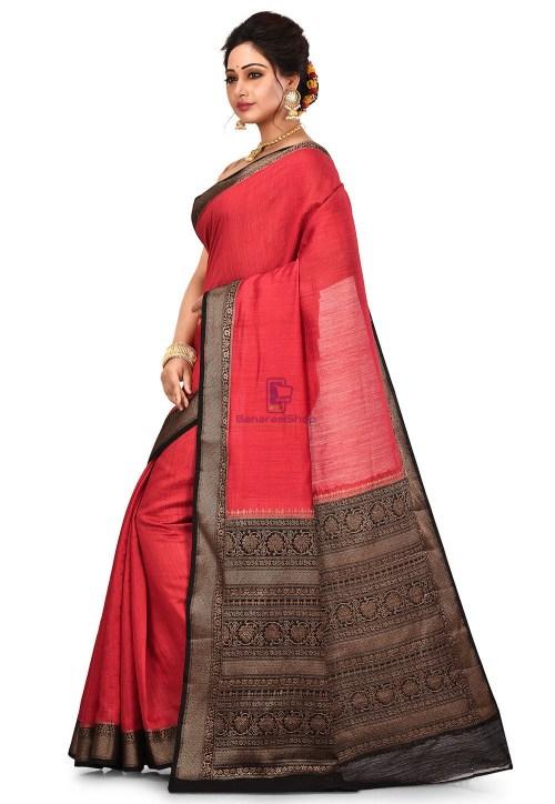 Pure Muga Silk Banarasi Saree in Red 8