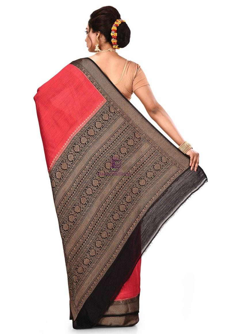 Pure Muga Silk Banarasi Saree in Red 5