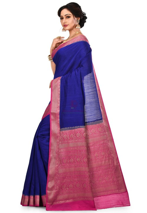 Pure Muga Silk Banarasi Saree in Royal Blue 8