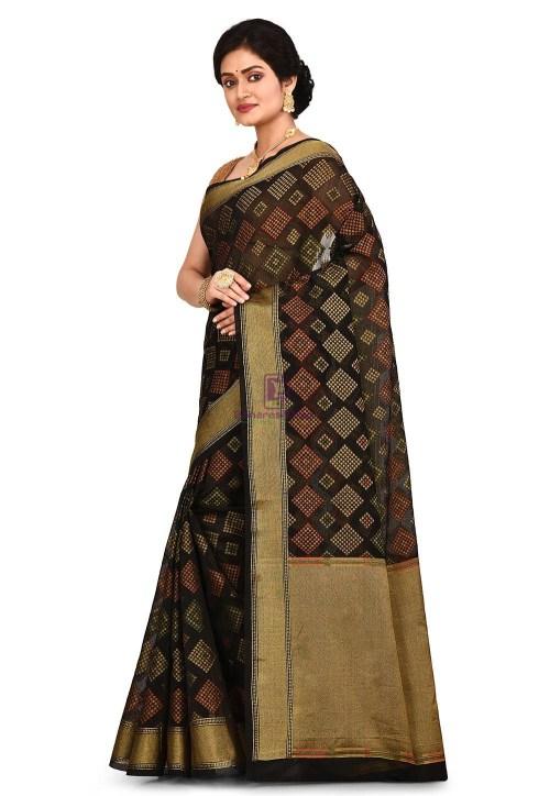 Woven Banarasi Cotton Silk Saree in Black 7