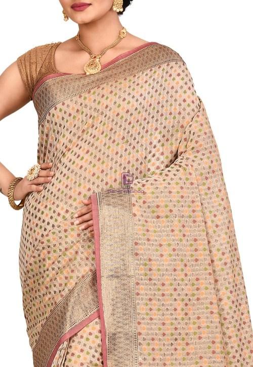 Woven Banarasi Cotton Silk Saree in Light Beige 5