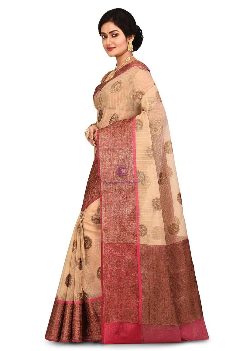 Woven Banarasi Cotton Silk Saree in Light Beige 4