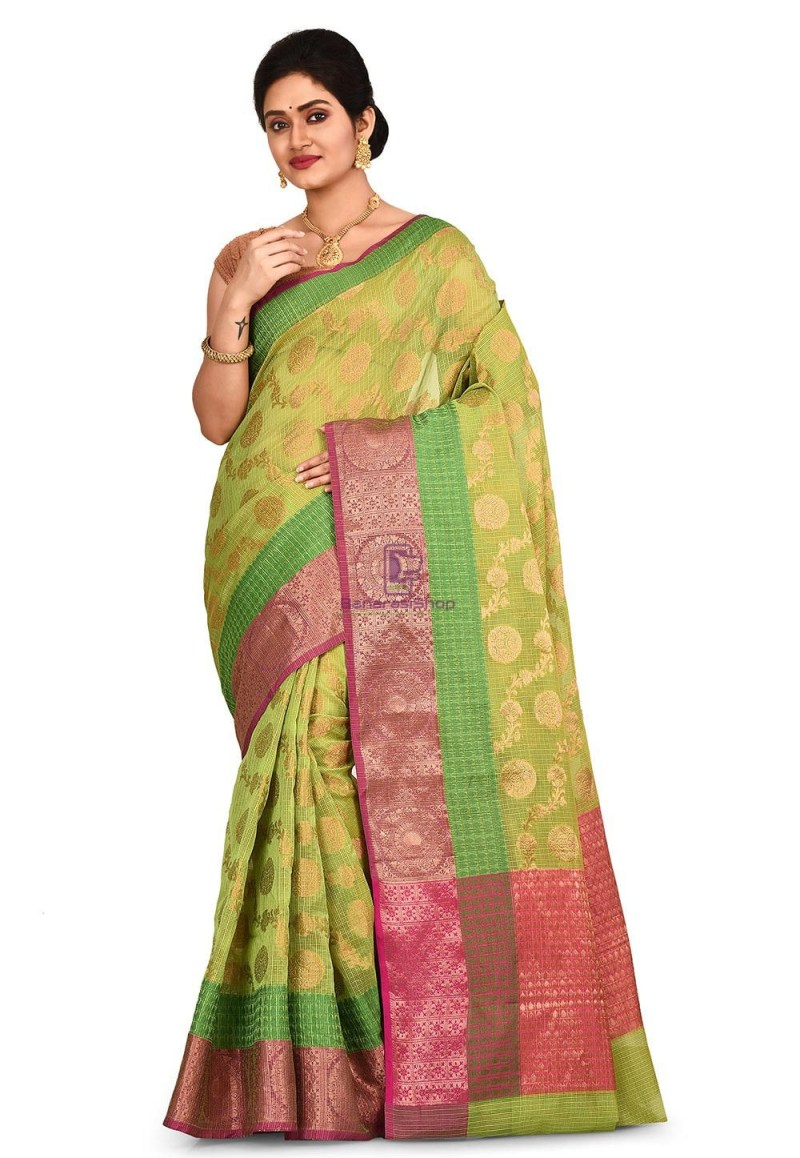 Woven Banarasi Cotton Silk Saree in Light Green 1