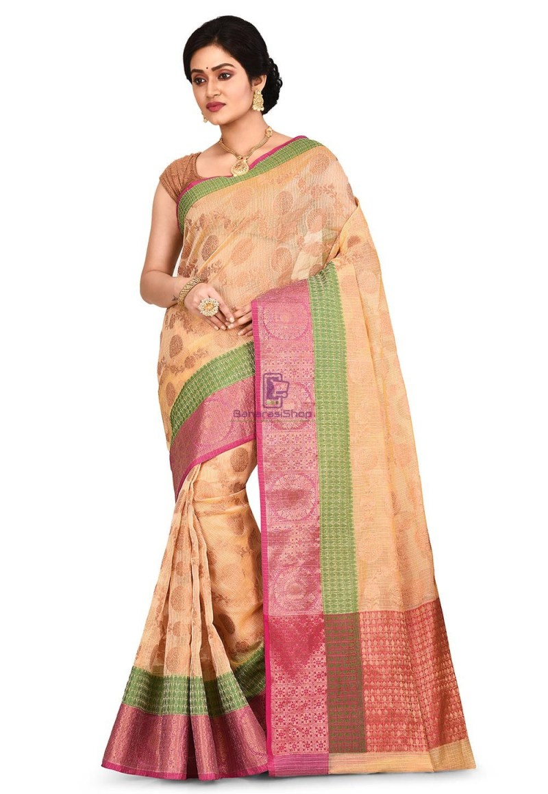 Banarasi Saree in Light Yellow 1