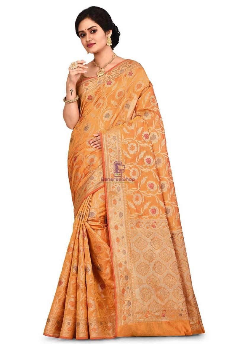 Woven Banarasi Cotton Silk Sare in Mustard 1
