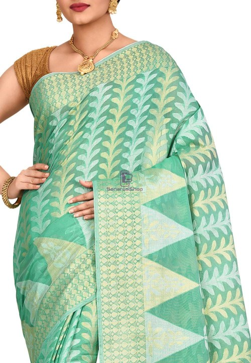 Woven Banarasi Cotton Silk Saree in Pastel Green 5