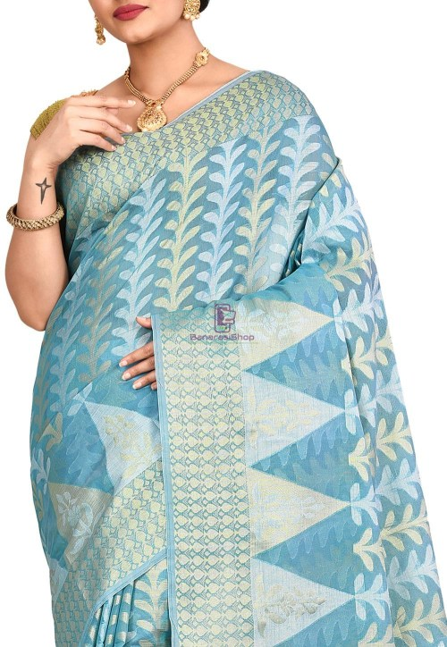 Woven Banarasi Cotton Silk Saree in Sky Blue 5