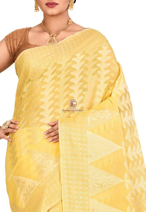 Woven Banarasi Cotton Silk Saree in Yellow 5