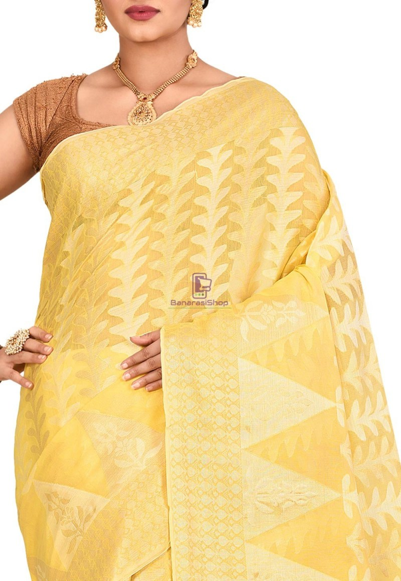 Woven Banarasi Cotton Silk Saree in Yellow 2