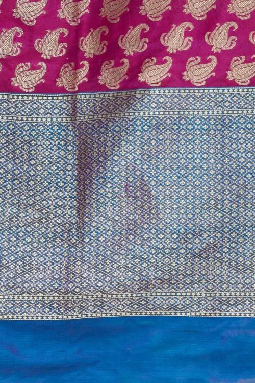 Handloom Banarasi Pure Katan Silk Dupatta in Pink and Blue 4