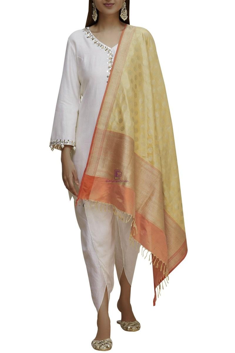 Handloom Banarasi Pure Katan Silk Dupatta in Gold and Peach 2