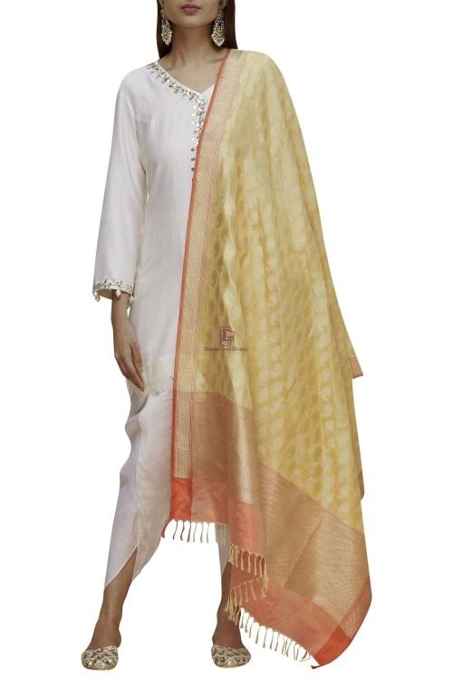 Handloom Banarasi Pure Katan Silk Dupatta in Gold 4