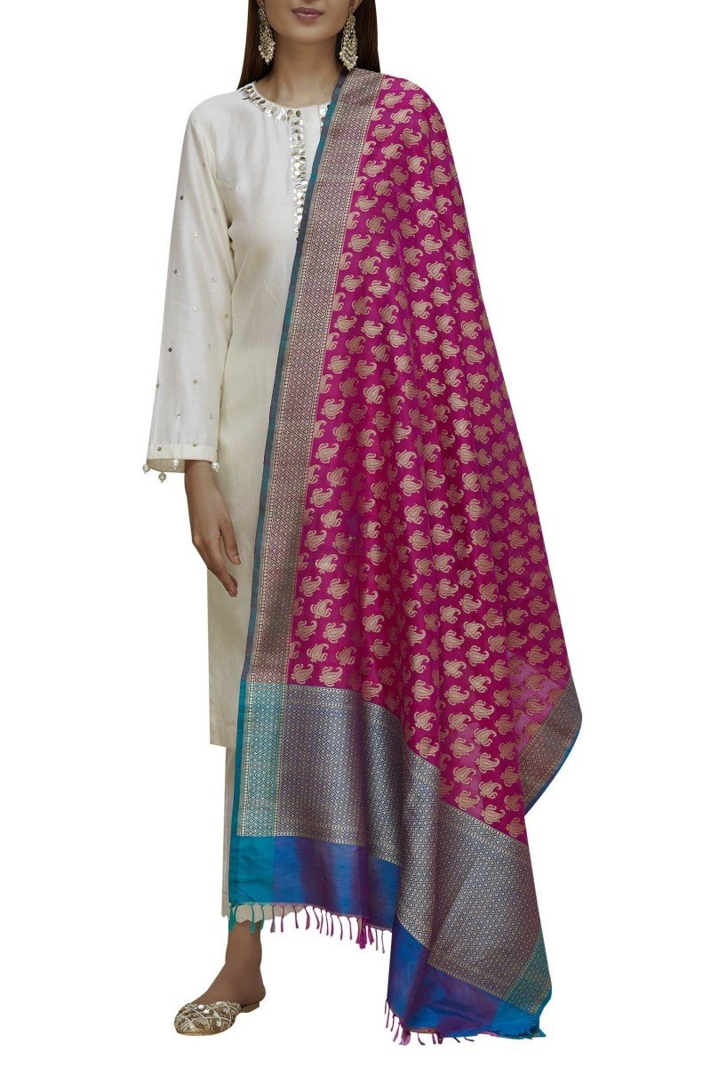 Handloom Banarasi Pure Katan Silk Dupatta in Pink and Blue 1