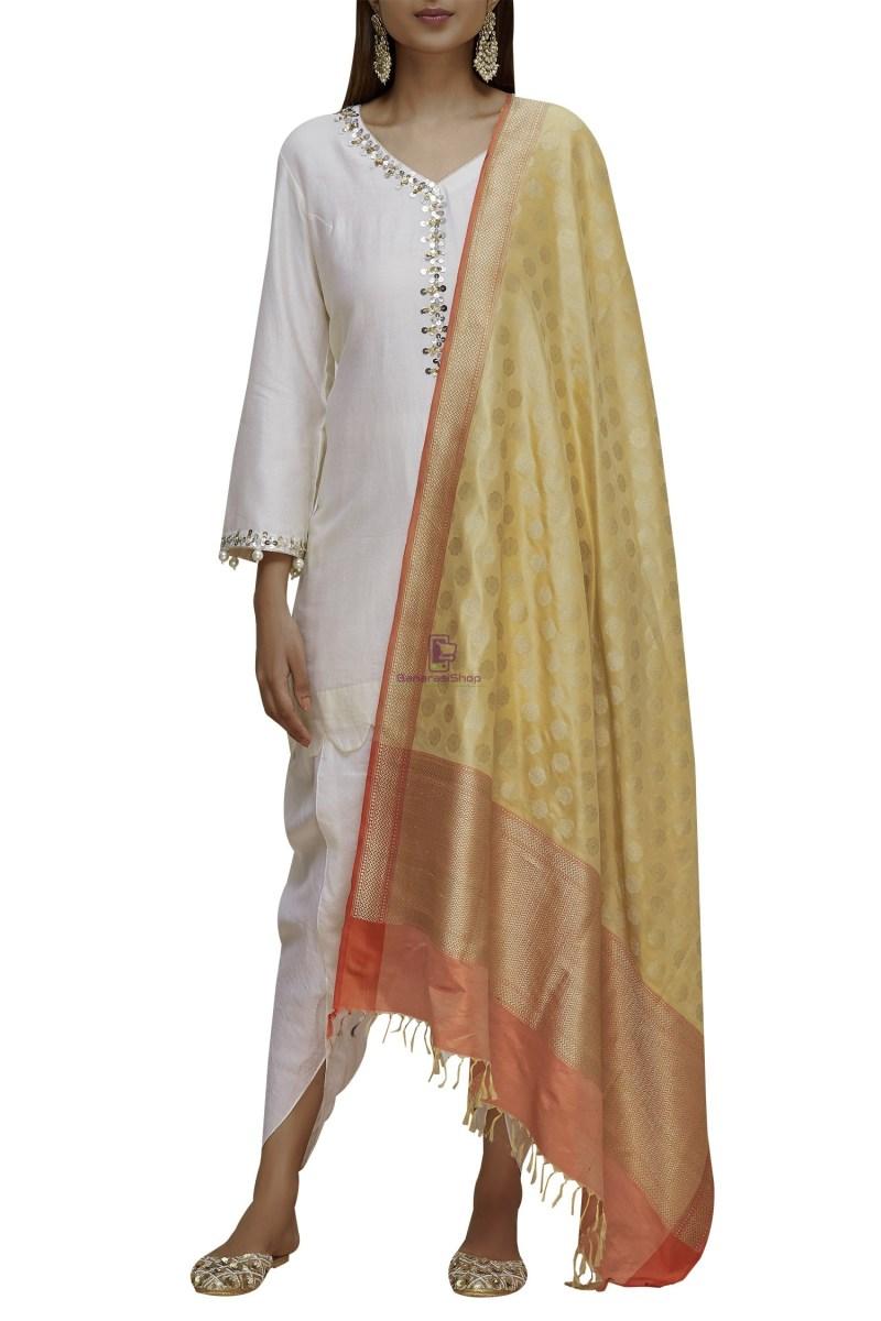 Handloom Banarasi Pure Katan Silk Dupatta in Gold and Peach 1