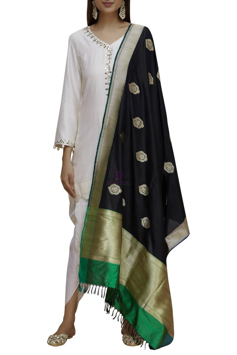 Handloom Banarasi Pure Katan Silk Dupatta in Black and Green 1