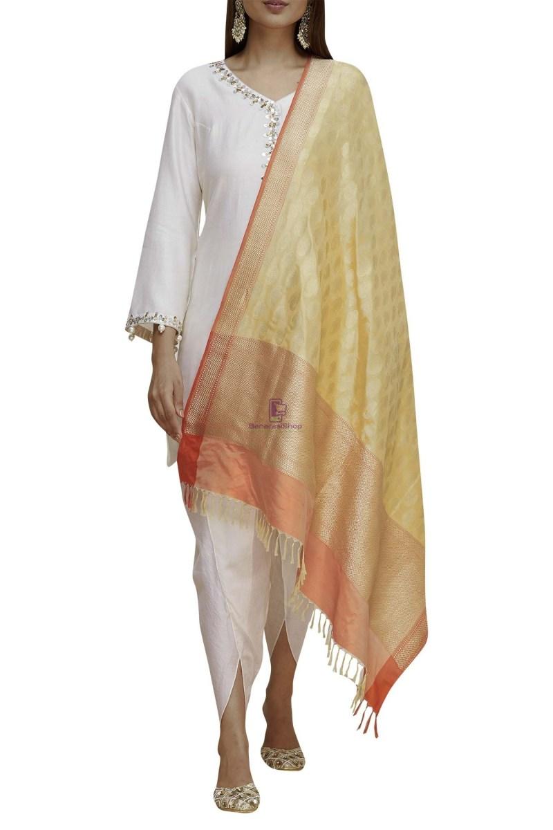 Handloom Banarasi Pure Katan Silk Dupatta in Gold 1