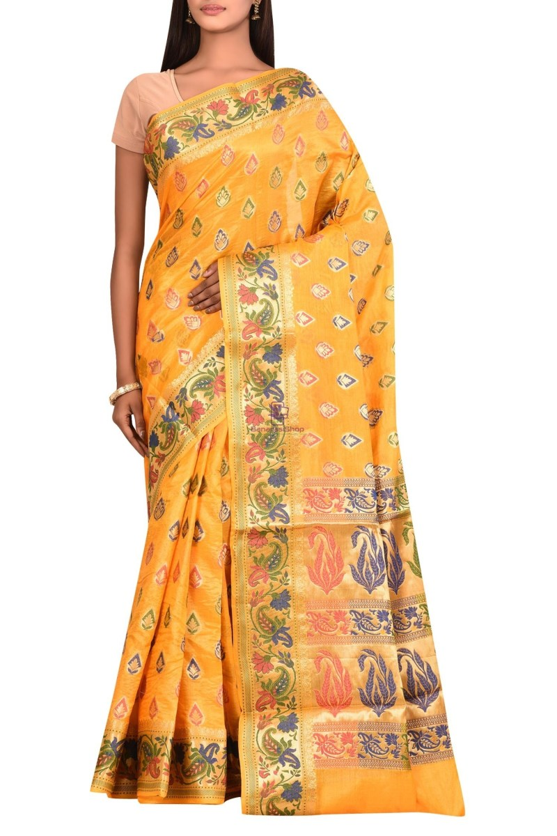 Banarasi Pure Tussar Silk Saree with Unstitched Blouse Fabric 1