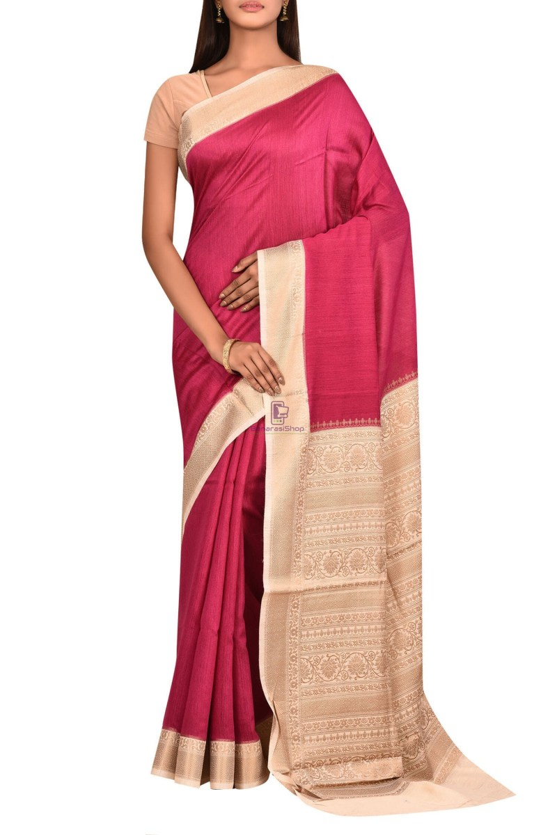 Pure Woven Banarasi Muga Silk Saree with Unstitched Blouse Fabric 1
