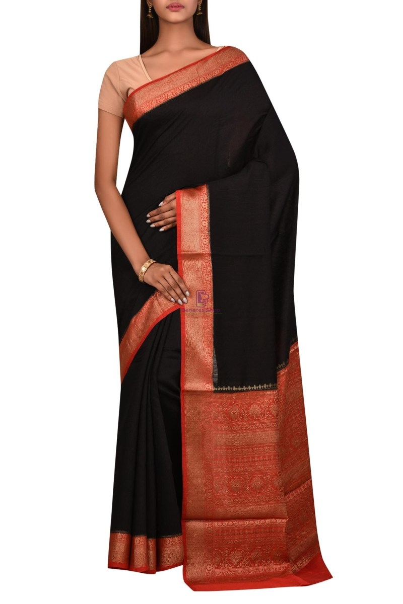 Pure Woven Banarasi Muga Silk Saree with Unstitched Blouse Fabric 1