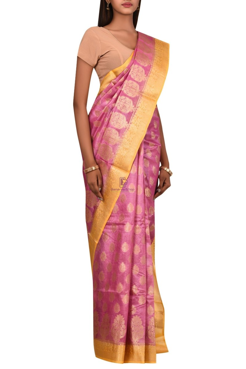 Banarasi Pure Tussar Silk Saree with Unstitched Blouse Fabric 3