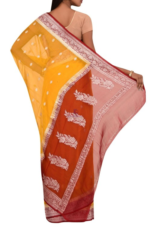 Pure Banarasi Handloom Khaddi Georgette Silk Saree with Unstitched Blouse Fabric 5