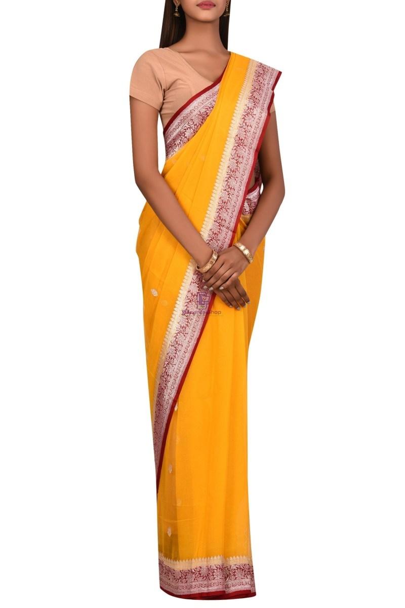 Pure Banarasi Handloom Khaddi Georgette Silk Saree with Unstitched Blouse Fabric 3