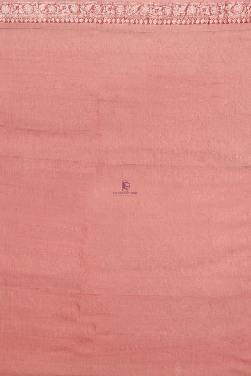 Pure Banarasi Handloom Khaddi Georgette Silk Saree with Unstitched Blouse Fabric 4
