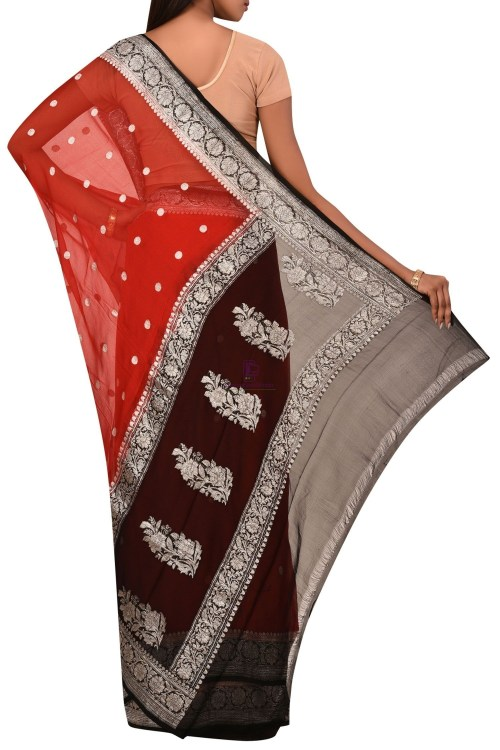 Pure Banarasi Handloom Khaddi Georgette Silk Saree with Unstitched Blouse Fabric 5