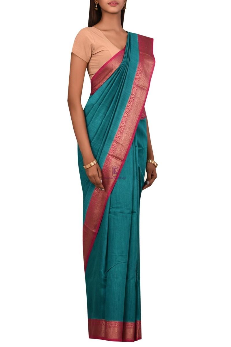 Pure Woven Banarasi Muga Silk Saree with Unstitched Blouse Fabric 3