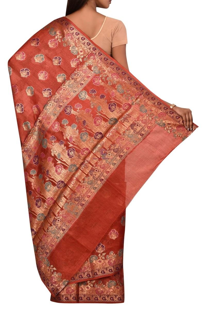 Banarasi Pure Tussar Silk Saree with Unstitched Blouse Fabric 2