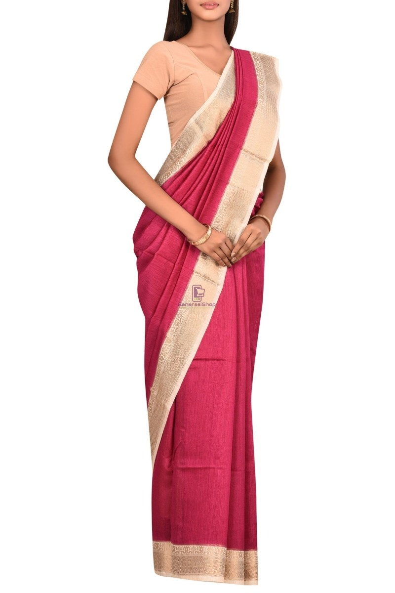 Pure Woven Banarasi Muga Silk Saree with Unstitched Blouse Fabric 3