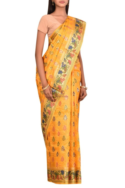 Banarasi Pure Tussar Silk Saree with Unstitched Blouse Fabric 6