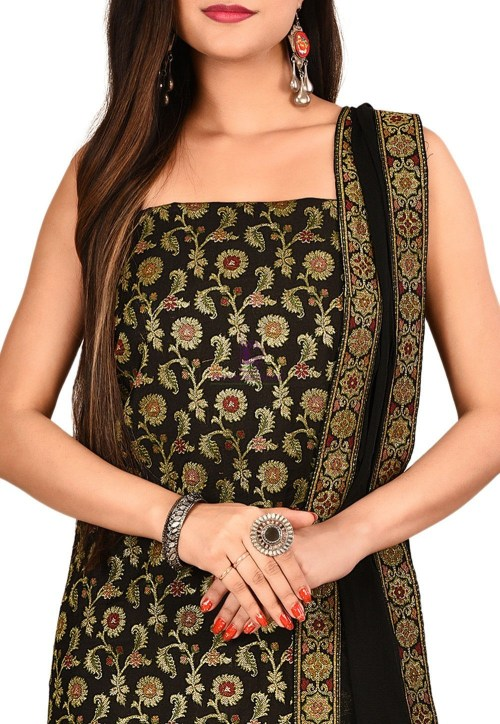 Woven Banarasi Cotton Silk Straight Suit in Black 3