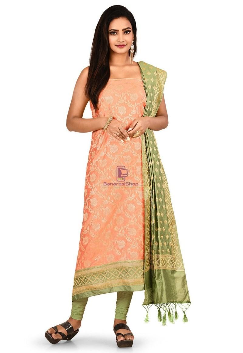 Woven Banarasi Cotton Silk Straight Suit in Peach 1