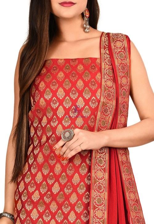Woven Banarasi Cotton Silk Straight Suit in Red 3
