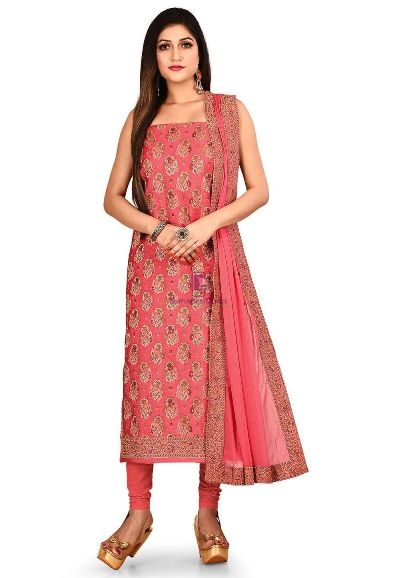 Woven Banarasi Silk Straight Suit in Fuchsia 1