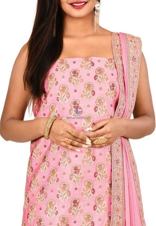 Woven Banarasi Silk Straight Suit in Light Pink 3