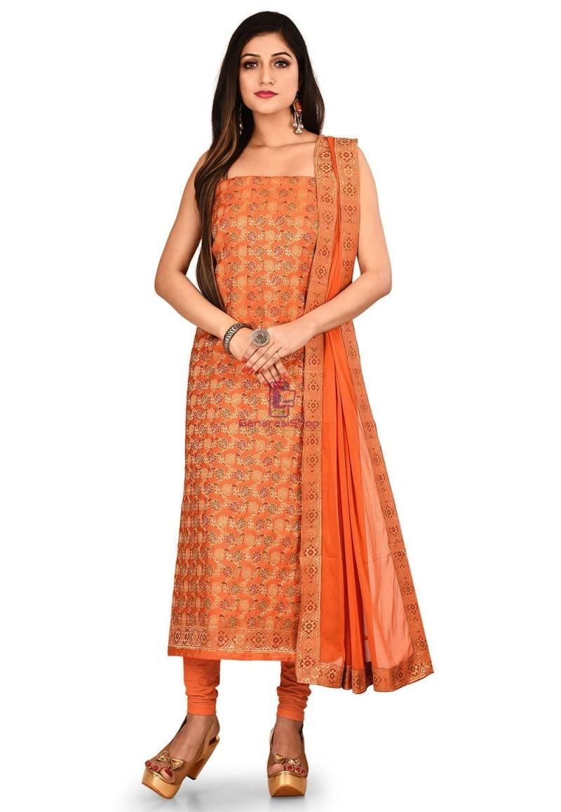 Woven Banarasi Silk Straight Suit in Orange 1