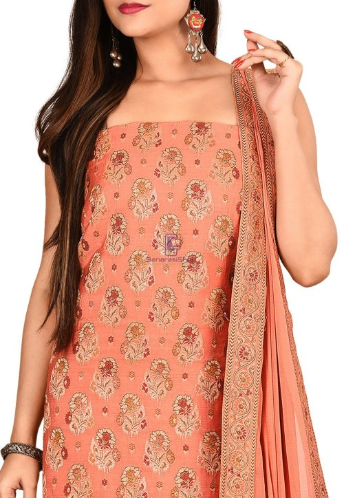 Woven Banarasi Silk Straight Suit in Peach 3