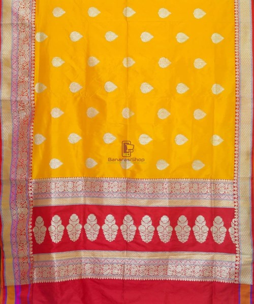 Banarasi Pure Katan Silk Handloom Yellow Saree 5