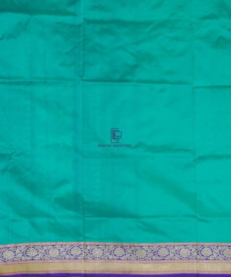 Banarasi Pure Katan Silk Handloom Cyan Blue Saree 4