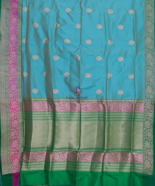 Banarasi Pure Katan Silk Handloom Sky Blue Green Saree 5