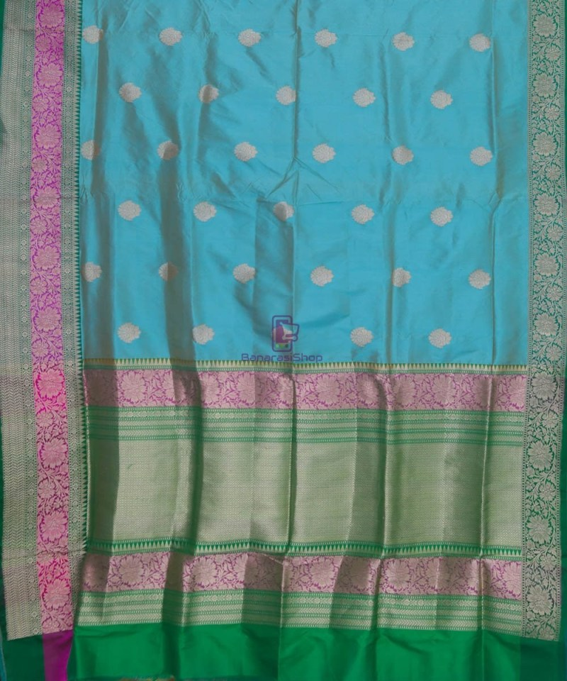 Banarasi Pure Katan Silk Handloom Sky Blue Green Saree 2