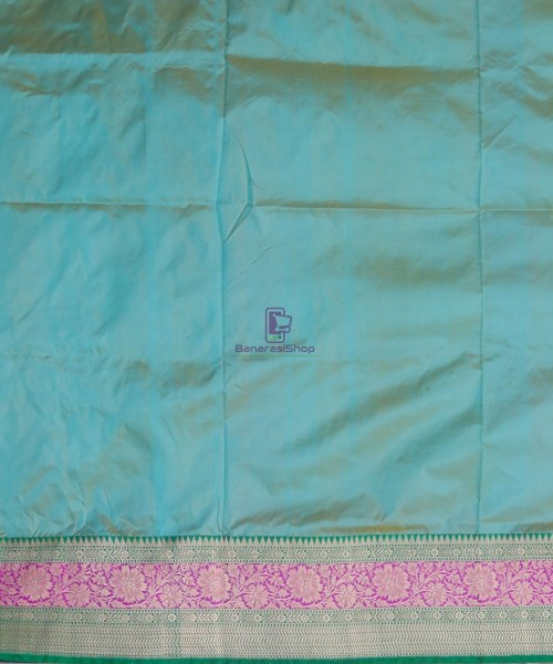 Banarasi Pure Katan Silk Handloom Sky Blue Green Saree 7