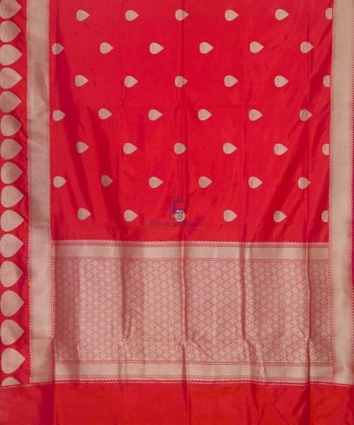 Banarasi Pure Katan Silk Handloom Rose Red Saree 5