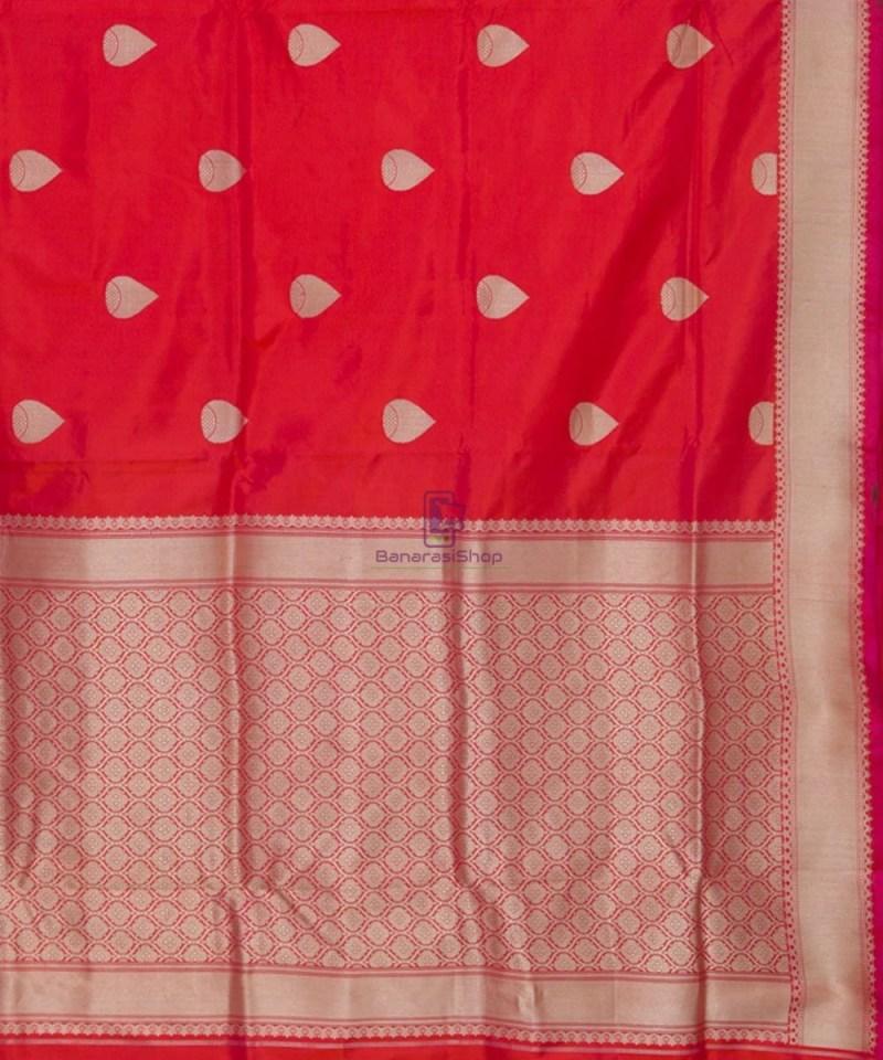 Banarasi Pure Katan Silk Handloom Rose Red Saree 3